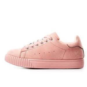 Pink faux suede lace up sneakers